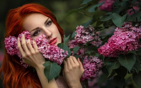 Picture girl, face, mood, hands, red, redhead, lilac, The Novel Lancets