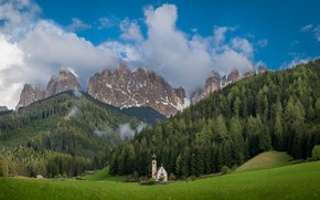 Picture clouds, trees, mountains, the slopes, Italy, Church, The Dolomites, Bolzano