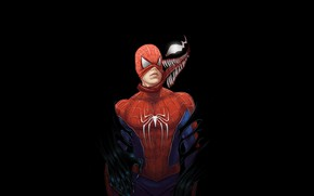Picture language, background, art, black background, Venom, Venom, Spider-Man, removes the mask