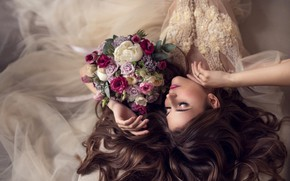 Picture girl, flowers, face, pose, style, hair, bouquet, hands, makeup, the bride, wedding dress, closed eyes, …