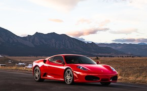Picture mountains, red, supercar, Ferrari F430, sports car