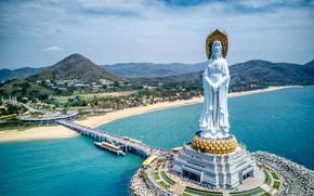 Picture landscape, mountains, bridge, nature, the city, river, hills, China, statue, Buddhism, Sanya