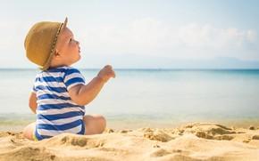 Picture sand, sea, beach, hat, boy, baby