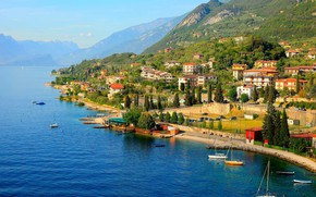Picture mountains, lake, home, Italy, Garda