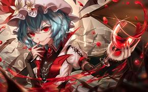 Picture girl, blood, glass, the demon, Touhou, Touhou, Touhou