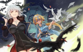 Picture birds, girls, anime, art, pigeons, Fate