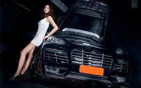 Picture look, Girls, Porsche, Asian, beautiful girl, black car