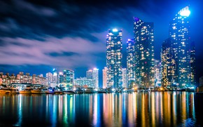 Picture building, yachts, night city, boats, skyscrapers, South Korea, harbour, South Korea, Busan, The Republic Of …