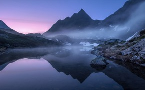 Picture the sky, water, snow, landscape, mountains, fog, lake, surface, reflection, stones, tops, morning, mountain, early, …