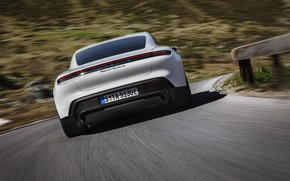 Picture speed, Porsche, rear view, Turbo S, 2020, Taycan