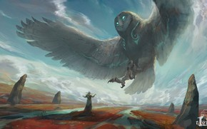 Picture look, clouds, owl, wings, fantasy, art, deity