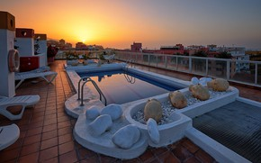 Picture sunset, Spain, Tenerife, The Canary Islands, Puerto de La Cruz