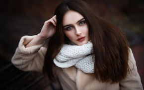 Picture look, girl, face, hair, portrait, scarf, Kate, Maks Romanov, Max Romanov