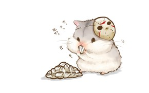 Picture mask, white background, seeds, nibbles, cheeks, hamster, pitannya