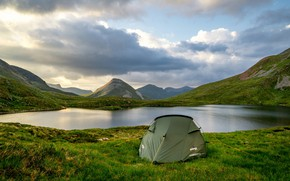 Picture greens, the sky, grass, clouds, mountains, lake, shore, Scotland, tent
