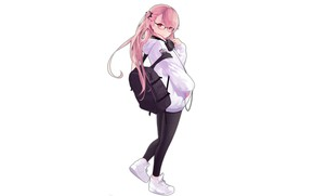 Picture girl, style, white background, backpack