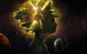 Picture space, trees, life, people, planet, tears, space, civilization, trees, life, people, planets, tears, sunlight, sunlight, …