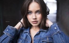 Picture girl, long hair, photo, blue eyes, model, lips, face, brunette, portrait, jacket, mouth, close up, ...