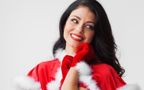 Picture smile, background, mood, holiday, new year, portrait, Christmas, makeup, dress, brunette, hairstyle, gloves, maiden, fur, …