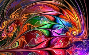 Picture abstraction, fantasy, fractal, picture, flickering, the colors of the rainbow, zigzags, glowing lines, neon paint