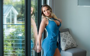 Picture chest, eyes, look, girl, dress, blonde, heels, big Breasts, cali carter