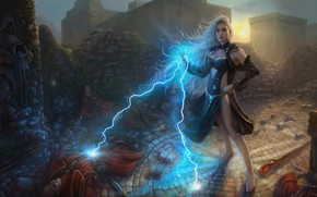 Picture girl, magic, lightning, male, defeated