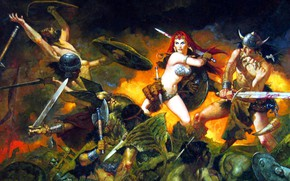Picture girl, sexy, redhead, battle, Conan The Barbarian, Red Sonja, she devil with a sword