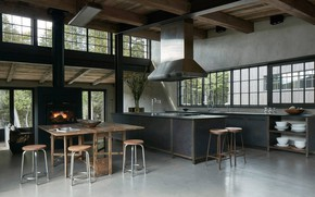Picture design, style, interior, kitchen, fireplace, dining room, Rustic industrial kitchen-dining space