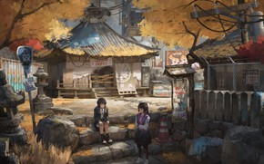 Picture graffiti, the fence, stage, Aya Shameimaru, road sign, Touhou Project, two girls, Hatate Himekaidou, project …