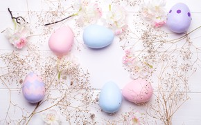 Picture flowers, eggs, Easter, happy, wood, flowers, eggs, easter, decoration