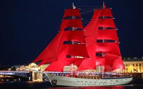 Picture sailboat, Russia, brig