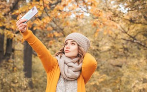 Picture autumn, girl, trees, nature, pose, Park, hat, hand, portrait, makeup, scarf, hairstyle, jacket, yellow, bokeh, …
