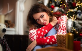 Picture look, girl, face, pose, hands, sweater, Dmitry Shulgin