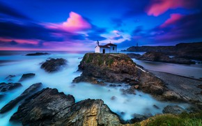 Picture sea, the sky, clouds, sunset, stones, rocks, blue, shore, lighthouse, Church, pink, blue, chapel, bright ...
