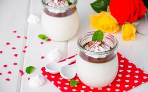 Picture dessert, Panna cotta, meringue