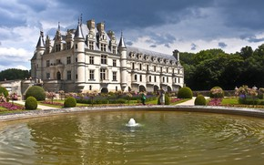 Picture castle, France, pool, fountain, Chenonceau
