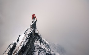 Picture rock, rocks, people, top, climber, peak
