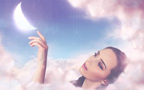 Picture girl, clouds, face, mood, the moon, hand, a month, touch