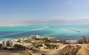 Picture sea, mountains, coast, home, panorama, the view from the top, Israel