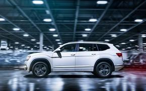 Picture white, Volkswagen, profile, 2018, Atlas, R-Line