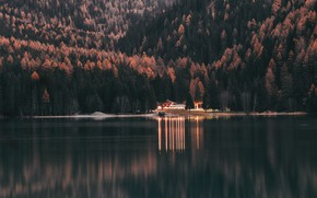 Picture Water, Nature, Reflection, The evening, Lake, Trees, Mountain, Forest, House, Landscape, Nature, Landscape, Water, Mountain, …