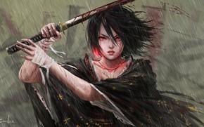 Picture Girl, Japan, Asian, Girl, Sword, Japan, Fantasy, Japanese, Asian, Heavy Rain, Fiction, Rain, Katana, Samurai, …