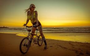 Picture sea, beach, girl, sunset, bike, pose, shorts, tattoo, glasses, blonde, long hair, BMX