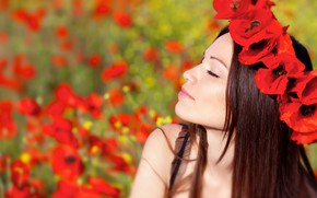 Picture field, summer, the sun, flowers, nature, face, Maki, makeup, hairstyle, red, brown hair, beauty, wreath, …