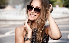 Picture look, pose, smile, makeup, glasses, singer, TV presenter, hair, Julia Kovalchuk