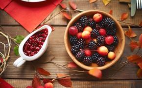 Picture leaves, berries, wood, autumn, leaves, BlackBerry, jam, berries, Ranetki