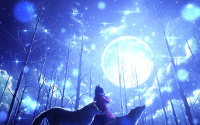 Picture winter, girl, trees, the moon, wolves