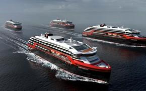Wallpaper The ocean, Sea, Liner, Court, The ship, Norway, Rendering, Passenger ship, Cruise Ship, Passenger Ship, ...