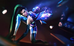 Picture magic, the game, crystals, game, magic, long hair, long hair, beautiful girl, blurred background, League …
