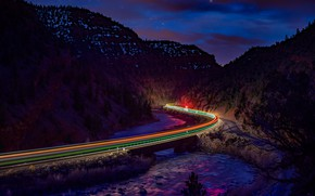 Picture road, night, lights